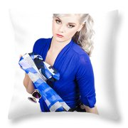 The Classic Pin-up Image. Girl In Retro Style Throw Pillow