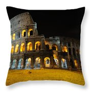 The Colosseum At Night Throw Pillow