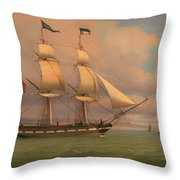 The English Brig Norval Before The Wind Throw Pillow