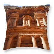 The Facade Of Al Khazneh In Petra Jordan Throw Pillow by Robert Preston