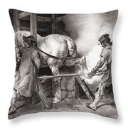 The Farrier, From Etudes De Cheveaux Throw Pillow