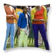 The First Lady And Daughters Throw Pillow