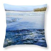 The Frozen Dnieper River Throw Pillow