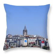 The Galata Tower And Istanbul City Skyline In Turkey   Throw Pillow