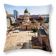 The Gendarmenmarkt And German Cathedral In Berlin Throw Pillow