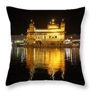 The Golden Temple At Amritsar At Night Throw Pillow