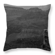 The Grand Canyon In Black And White Throw Pillow