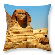 The Great Sphinx Of Giza And Pyramid Of Khafre Throw Pillow