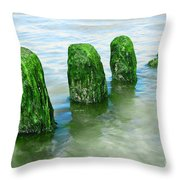 The Green Jetty Throw Pillow