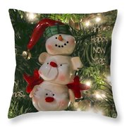 The Happy Snowman Throw Pillow