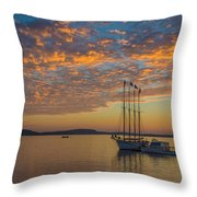 The Harbor At Sunrise Throw Pillow