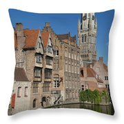 The Historic Center Of Bruges Throw Pillow