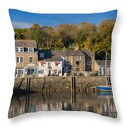 The Inner Harbour At Padstow Throw Pillow