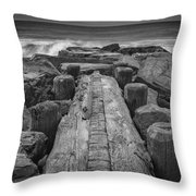 The Jetty In Black And White Throw Pillow