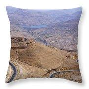 The King's Highway At Wadi Mujib Jordan Throw Pillow by Robert Preston