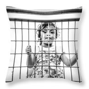 The Locked Little Girl Throw Pillow