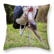 The Marabou Stork In Tanzania. Africa Throw Pillow