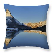 The Matterhorn And Riffelsee Lake Throw Pillow