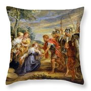 The Meeting Of David And Abigail Throw Pillow
