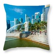 The Merlion  Fountain - Singapore Throw Pillow