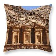 The Monastery At Petra In Jordan Throw Pillow