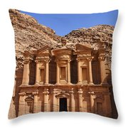 The Monastery Sculpted Out Of The Rock At Petra In Jordan Throw Pillow