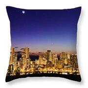 The Moon And Venus Over Honolulu Throw Pillow
