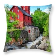 The Old Red Mill Jericho Vermont Throw Pillow