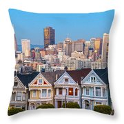 The Painted Ladies Of San Francisco Throw Pillow