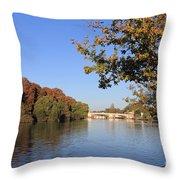 The River Thames At Hampton Court London Throw Pillow