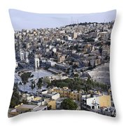 The Roman Theatre In The Middle Of The City Of Amman Jordan Throw Pillow