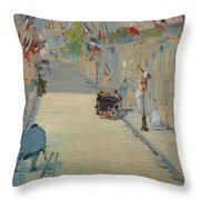 The Rue Mosnier With Flags Throw Pillow