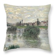 The Seine At Lavacourt Throw Pillow