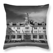 The Stanley Hotel Panorama Bw Throw Pillow
