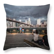 The Storm Over Manhattan Throw Pillow
