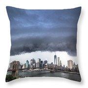 The Storm Over Manhattan Downtown Throw Pillow