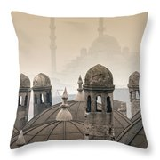 The Suleymaniye Mosque And New Mosque In The Backround Throw Pillow