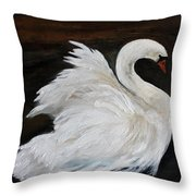 The Swans Of Albury Manor I Throw Pillow