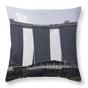 The Towers Of The Iconic Marina Bay Sands In Singapore Throw Pillow