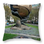 The W T C Plaza Fountain Sphere Throw Pillow