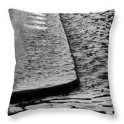 The Water Fountain In Black And White Throw Pillow