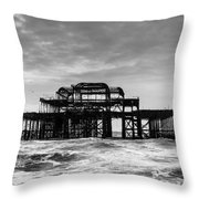 The West Pier In Brighton Throw Pillow