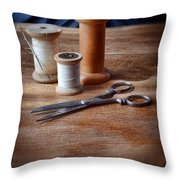 Thread And Scissors Throw Pillow