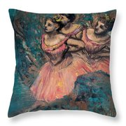 Three Dancers In Red Costume Throw Pillow