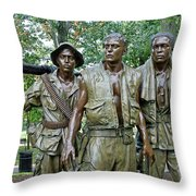 Three Soldiers Statue Throw Pillow