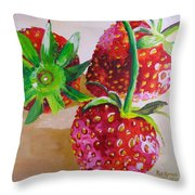 Three Strawberries Throw Pillow