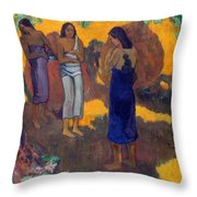 Three Tahitian Women Against A Yellow Background Throw Pillow