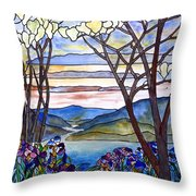 Stained Glass Tiffany Frank Memorial Window Throw Pillow