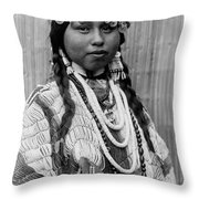Tlakluit Indian Woman Circa 1910 Throw Pillow by Aged Pixel