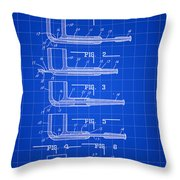 Tobacco Pipe Patent 1944 - Blue Throw Pillow